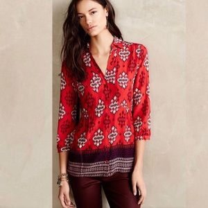 Anthropologie Maeve Red Tribal Print Button Up Top